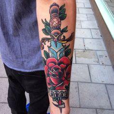 Healed! #dagger #rose #rosetattoo #neotrad