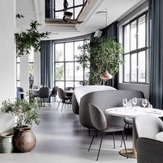 """""""We are rather fond of this restaurant installation """"The Standard"""" in Copenhagen, designed by the highly acclaimed Danish-Italian design duo Gam Fratesi. The install also features the new Beetle chair of which they designed for Gubi recently. We can also spot the copper Light Years Orient pendant contrasting beautifully against the muted blues and greys. #thestandard #gamfratesi #gubi #beetlechair #danishdesign #interiors #interiordesign"""" Photo taken by @designfarm_perth on Instagram, pinned…"""