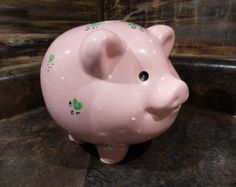 VINTAGE RUSS BERRIE MUSICAL PIGGY BANK - HAND PAINTED