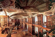 The Abbey library of Saint Gall, in St. Gallen, Switzerland -one of the richest medieval libraries in the world.  As of 2005, the library consists of more than 160,000 books, of which 2100 are handwritten. Nearly half of the handwritten books are from the Middle Ages and 400 are over 1,000 years old.