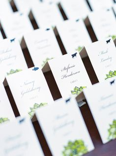 Green and Blue Escort Cards | photography by http://www.melissajill.com/