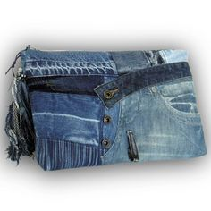 Recycled Old Jeans & Hand-dyed Indigo Fabric Clutch Bag/ Jeans bag
