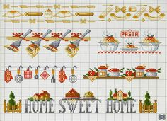Cross stitch chart home sweet home, cooking utensils as borders