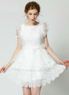 White Day Dress - Bqueen Rretro Embroidery Dress S013786  Lace ...