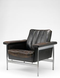 Sven Ivar Dysthe; #5001 Steel and Leather Armchair for Dokka, 1962