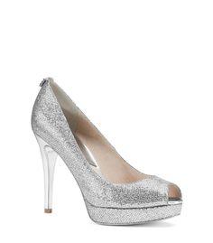 8e8e03ebadb Michael Michael Kors Womens Size 6 York Open Toe Silver Glitter Pumps  Silver Glitter Pumps