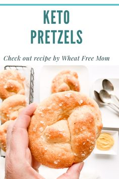 Learn to make these keto and gluten-free prestzes with this easy recipe. These low carb pretzels are simple to make. Gluten Free Baking, Gluten Free Recipes, Low Carb Recipes, New Recipes, Vegetarian Cheese, Pretzels, Food Print, Free Food, Baked Goods