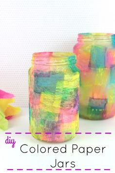 Diy Colored Paper Majon Jars!