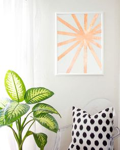 Make this modern wall art using copper tape.