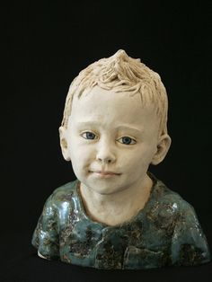 green - child - Terrence - figurative ceramic sculpture - An Brzoskowski