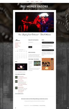 Big Money Gators - Mark Gilmore and his band, Big Money Gators, use their Squarespace 6 website to promote their music, videos, and event calendar.