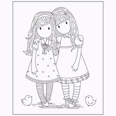 Gorjuss Santoro Stamps clipart and coloring pages Coloring Pages For Girls, Colouring Pages, Coloring Sheets, Free Coloring, Coloring Books, Embroidery Patterns, Hand Embroidery, Copic, Digital Stamps