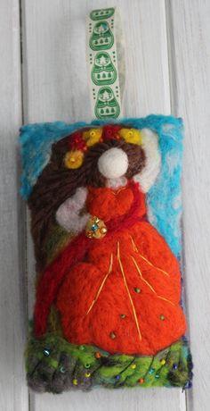 Decorative felt hanging cushion - Lovely lady £15.00