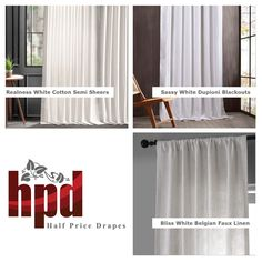 Brighten your home with solid white curtains in silk, linen, cotton, velvet, blackouts, and more! Shop by color at www.halfpricedrapes.com/color,pattern/white,solid/1805/curtains-drapes.html on our website for classic style and appeal! #HPD #HalfPriceDrapes #Curtains #Drapes #InteriorDesign #White #Cream #Linen #Velvet #Silk #Sheer #Blackout #Custom #Cotton #TrendAlert Sheer Linen Curtains, Elegant Curtains, Pleated Curtains, Velvet Curtains, Custom Curtains, Grommet Curtains, White Curtains, Room Darkening Curtains, Color Patterns