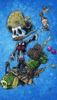 Day of the Dead artist David Lozeau paints Dia de los Muertos art, skeleton art, sugar skull art, and candy skull art in his unique Lowbrow art style. Cartoon Kunst, Cartoon Art, Day Of The Dead Art, Skeleton Art, Desenho Tattoo, Sugar Skull Art, Candy Skulls, Chicano Art, Lowbrow Art