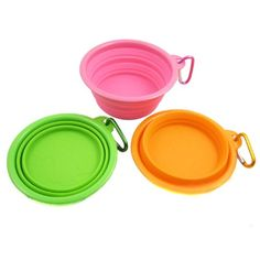 Set of 3 Healthy Diet Silicone Pet Expandable/Collapsible Travel Bowl with Carabineer for Leash - Colors: Orange, Green and Hot Pink, Size: 1.5 Cups