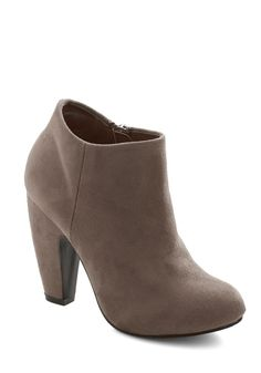 Taupe of Your Game Bootie. Its as if everything is going your way lately, and judging by the taupe booties on your feet, your style is in fine form too! #tan #modcloth
