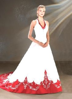 $280 red and white wedding dress, wedding dress with red accents ...