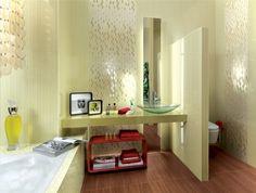 Плитка на полу в ванной с рисунком под ламинат