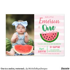 Shop One in a melon, watermelon invitation, picture invitation created by MichelleRayeDesigns. Personalize it with photos & text or purchase as is! Girl First Birthday, Baby Birthday, First Birthday Parties, First Birthdays, Birthday Ideas, Birthday Gifts, Disney Birthday, Birthday Bash, Birthday Decorations