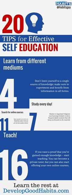 Self education these days is necessary for success. Industries are constantly changing. Professions and professional development require continuing growth and learning. --- see these 20 tips for self education that will help you stay ahead of the power curve.