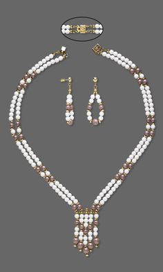 Jewelry Design - Double-Strand Necklace and Earrings Set with Czech Glass Druk Beads, Gold-Plated Brass Beads and Antique Gold-Plated Pewter Spacer Bar - Fire Mountain Gems and Beads
