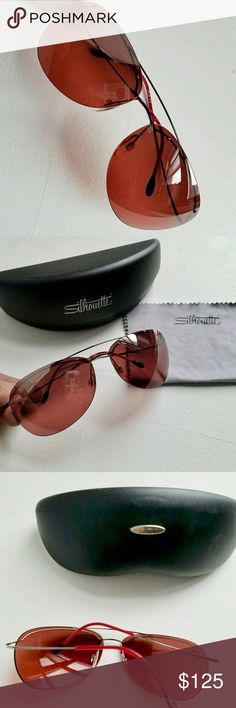Silhouette Sunglasses Rose 🌹 colored lenses with gunmetal hardware. NWOT💖 silhouette Accessories Sunglasses