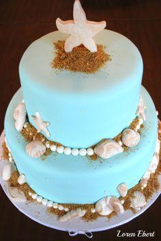 Beach Themed Wedding Cake Pink by Loren Ebert  www.thebakingsheet.blogspot.com