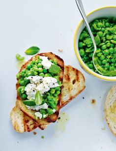 pea, goats' cheese and mint bruschetta.