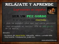 Expressions in Spanish: Ser un pez gordo  http://www.antonioluna.org/2014/10/expressions-in-spanish-ser-un-pez-gordo.html