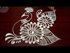 latest simple peacock kolam designs with out dots - easy rangoli designs - muggulu rangoli designs - YouTube