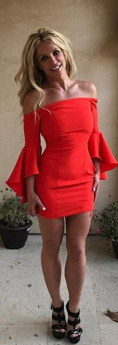 Who made Britney Spears' red bell sleeve dress?