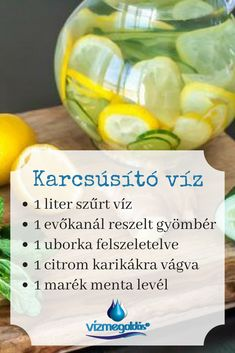 Fogyókúrás receptek - Nyári karcsúsító víz recept szűrt vízzel Diet Recipes, Cooking Recipes, Healthy Recipes, Healthy Drinks, Healthy Eating, Bio Food, Health And Wellness, Health Fitness, Food Design