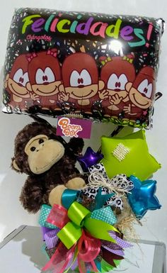 Happy Birthday Bouquet, Lets Celebrate, Ideas Para, Folk Art, Diy And Crafts, Balloons, Halloween, Box, Bouquets
