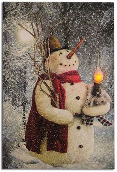 Lighted Woodland Snowman Canvas
