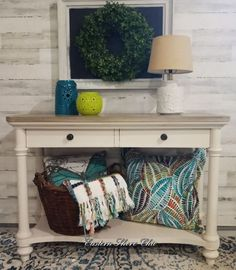 I wanted a whole new beachy look for my Marketplace sofa table find. Refurbished End Tables, Copper Top Table, Cowhide Chair, Painted Glass Vases, Simple Closet, Pallet House, Faux Stained Glass, Paint Furniture, Furniture Ideas