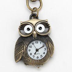 EUR € 2.83 - Coruja de liga unisex de quartzo analógico keychain relógio (bronze), Frete Grátis em Todos os Gadgets!