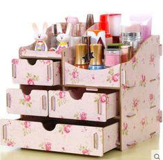 Nouveau 2016 Hot mode bricolage tiroir en bois maquillage organisateur cas cosmétique boîte de rangement cadeau d'anniversaire 22 * 17 * 22 cm dans Sacs & boîtiers pour cosmétiques de Valises et sacs sur AliExpress.com   Alibaba Group
