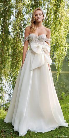 solo merav bridal 2016 pretty wedding dress off shoulder lace straps corset bodice organza chiffon full a line skirt emily