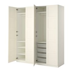 IKEA PAX Wardrobe White/bergsbo white 200 x 60 x 236 cm 10 year guarantee. Read about the terms in the guarantee brochure. At Home Furniture Store, Modern Home Furniture, White Furniture, Bedroom Furniture, Tall Cabinet Storage, Locker Storage, Armoire Ikea, Pax System, Soft Closing Hinges