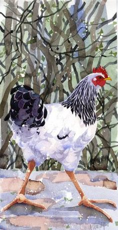 Mary Ann Rogers - Take Cover Watercolor Drawing, Watercolor Bird, Watercolor Animals, Watercolor Paintings, Watercolours, Chicken Painting, Chicken Art, Chickens And Roosters, Pet Chickens