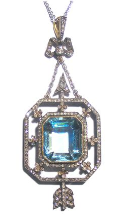 FABERGE JEWELRY - Aquamarine and diamond pendant of Eternity collection, Moscow Department of The House of Faberge, ca 1910. Click to see the original drawing of the pendant, made by Master Holmstrom on June 15th, 1910.