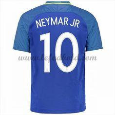 Billige Fodboldtrøjer Brasilien 2016 Landsholdstrøjer Neymar JR 10 Kortærmet Udebanetrøje