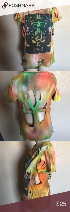 Handmade bob Marley tie dye t shirt Tie dye , small or medium, distressed bob Marley , very very cute in with cut off shorts Tops Tees - Short Sleeve