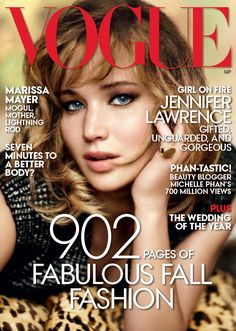 Jennifer Lawrence is on the September 2013 cover of Vogue magazine. On the cover shot by Mario Testino, 'The Hunger Games' star is weari...