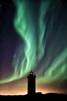 Aurora Borealis, Kevlavik, Iceland, lighthouse