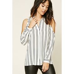 Forever21 Contemporary Stripe Shirt ($18) ❤ liked on Polyvore featuring tops, white cold shoulder top, white top, striped collared shirt, long tops and open shoulder top