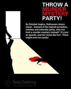 Find out how to throw a Murder Mystery Party with our party tips! Visit www.tastyathome.com Halloween Party Ideas,halloween ideas,#halloween