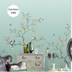 Chinese Wallpaper Bird Flower Gradient Green Christmas Retro Wallpapers Background Wall Papers Home Decor Living Room Mural Roll
