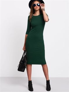 Belt: NO Fabric: Fabric is very stretchy Season: Summer Pattern Type: Plain Sleeve Length: Half Sleeve Color: Green Dresses Length: Knee Length Style: Casual Material: Cotton Blends Neckline: Round Ne